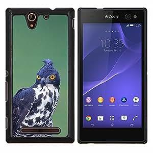 LECELL--Funda protectora / Cubierta / Piel For Sony Xperia C3 -- la caza de aves rapaces negro ornitología blanco --