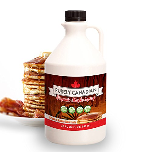 Organic Maple Syrup - 32 Oz. Jug - 100% Pure Canadian Maple Syrup - Small Family Farm Sourced - Grade A: Amber Rich Taste - Non-GMO, Healthy and Gluten-Free (Syrup Pure Maple Organic)