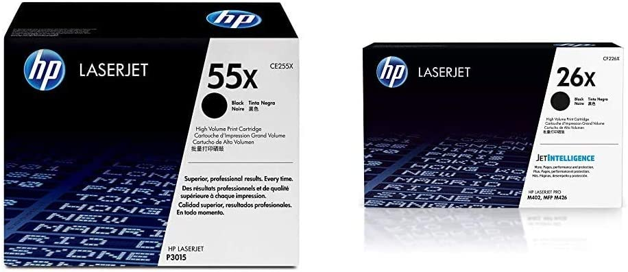HP 55X | CE255X | Toner Cartridge | Black | High Yield & 26X | CF226X | Toner Cartridge | Black | High Yield