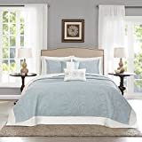5 Piece 120 x 118 Oversized Light Blue King Bedspread To The Floor, Extra Long Floral Bedding Xtra Wide Drops Over Edge Frame, Drapes Down Sides Hangs Over Bed Touches Flooring, Microfiber