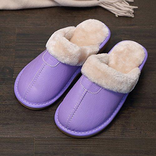 Fankou Indoor pantofole di cotone femmina pacchetto invernale con grazioso personaggio dei fumetti post-pantofole uomini cotone e ,40-41, blu 185