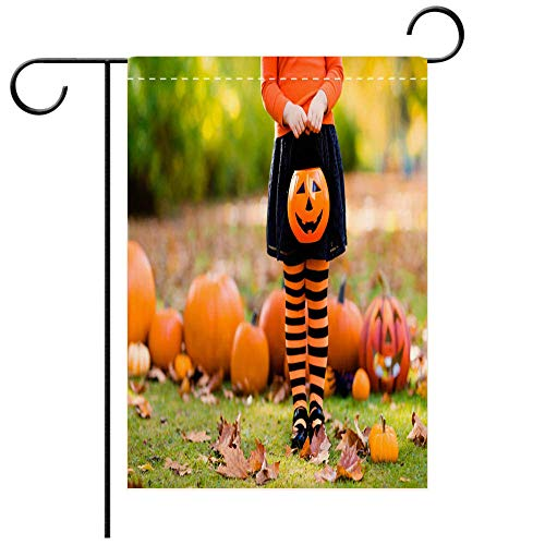 BEICICI Artistically Designed Yard Flags, Double Sided Little Girl in Witch Costume on Halloween Trick or Treat Best for Party Yard and Home Outdoor Decor]()