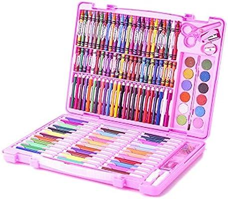 مجموعة أقلام ألوان مائية للأطفال من 150 لون ا من ألوان الشمع والجواش مجموعة فن الرسم فرشاة علبة هدية أقلام تلوين Amazon Ae