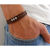 Handmade Wrap Brown Genuine Leather Bracelet For Men Set With 3 Silver Plated Beads By Galis Jewelry - Brown Bracelet For Men - Beaded Bracelet For Men - Jewelry For Men