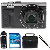 Panasonic Lumix ZS60 4K Digital Camera, WiFi (Silver) + 32 Gb Memory Card + More Essential Accessories