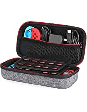 Case Compatible for Nintendo Switch - Younik Upgrade Version Hard Travel Carrying Case with Larger Storage Space for 19 Game Cartridges and Other Accessories– Red & White