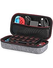 NS Switch/Switch OLED hoesje - Younik Upgrade-versie Harde draagtas met grotere opslagruimte voor 19 spelcassettes en andere NS Switch-accessoires-grijs
