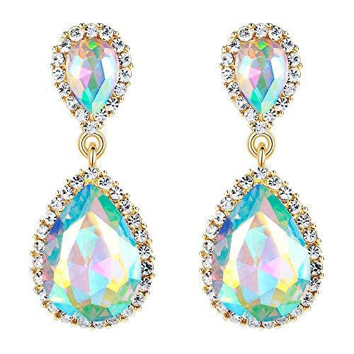 (EVER FAITH Women's Austrian Crystal Wedding Tear Drop Dangle Earrings Iridescent AB Gold-Tone )