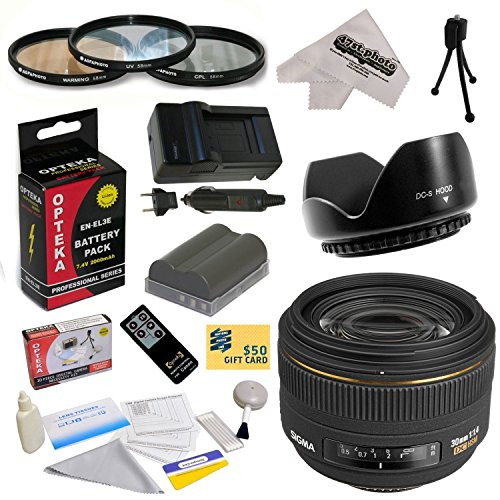 - Sigma 30mm f/1.4 EX DC HSM Autofocus Lens for The Nikon D700 D300S D300 D200 D100 D90 D80 D70 D70s D50 - Includes 62MM 3 Piece Pro Filter Kit (UV, CPL, FLD) + Flower Lens Hood + Replacement Battery Pack for the Nikon EN-EL3E 2000MAH + 1 Hour AC/DC Battery Charger + Wireless Shutter Release Remote Control + Deluxe Lens Cleaning Kit + LCD Screen Protectors + Mini Tripod + 47stphoto Microfiber Cloth Photo Print !