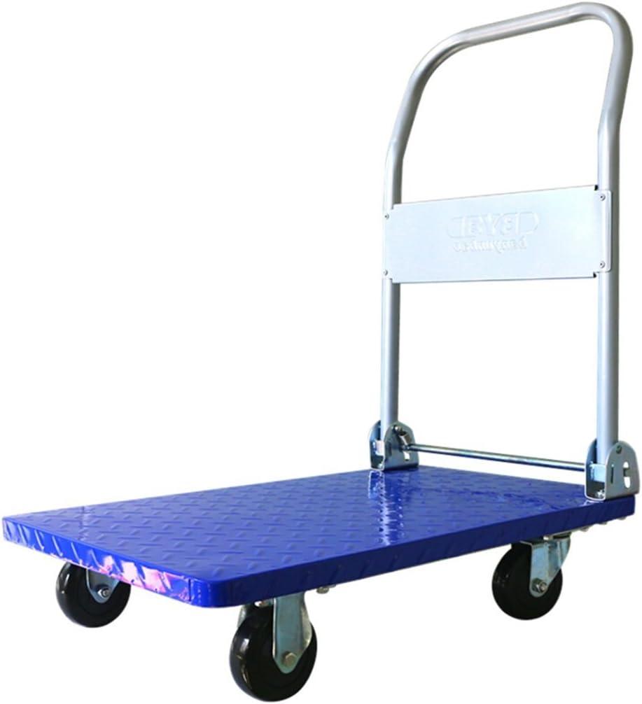 WJY Carro, Comedor Coche Carro médico Cena Carros plegables Carro azul Pvc 4 ruedas Manejo de carros Vehículo utilitario Camión de mano Placa de acero Camión de plataforma plana Carga 150 kg Carro