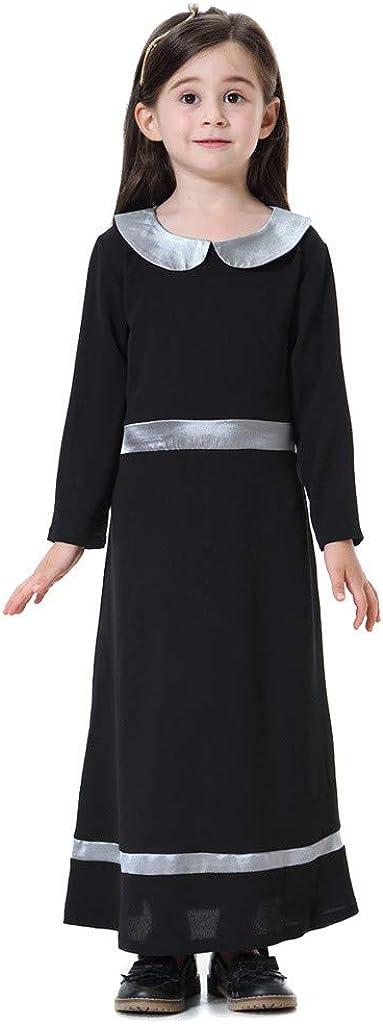 Waymine Kids Girl Muslim Islamic Robe Burka Maxi Kaftan Long Sleeve Dubai Dress