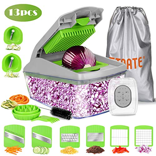 FITNATE 13PCS Vegetable Chopper Slicer Dicer, Vegetable Spiralizer Mandoline Slicer Vegetable Dicer Food Chopper Dicer Pro, Veggie Shredder Cutter, with Brush and Organizer Bag, Dishwasher Safe