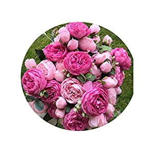 Luccaful 2018 Silk Rose Peony Artificial Flowers Beautiful Flores Bouquet for Wedding Party Home Decoration Mariage Fake Flowers A49B25 89