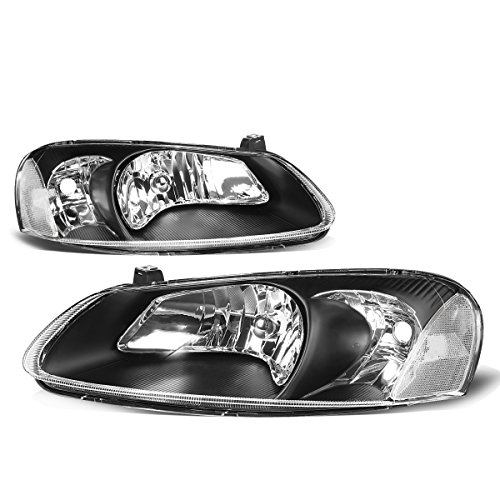 For Chrysler Sebring/Stratus Pair of Black Housing Clear Corner Headlight Replacement ()