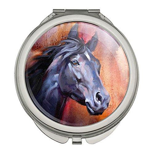 0.25 Thick Portrait Glass - Black Horse Portrait Painting Indigo Night Compact Travel Purse Handbag Makeup Mirror