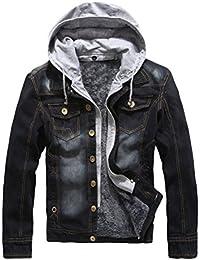 Men's Winter Denim Hooded Jacket Slim Fit Casual Jacket Button Down Distressed Jeans Coats Outwear