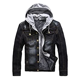Men's Winter Casual  Denim Hooded Jacket Slim Fit