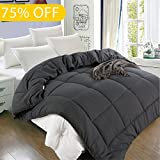 Queen Comforter (88 by 88 inches) - Grey Down Alternative Comforters Hypoallergenic Quilted Duvet Insert With Corner Tabs - Balichun Luxury Hotel Collection 1800 Series - All Season