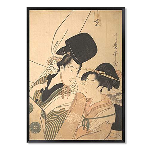 - Japanese Kimono Maid Figure Print On Modern Brown Canvas - Modern Classic Zephyr Reproduce Mural Art - Utagawa Kuniyoshi - Fine Art Collections - Framed and Ready to Hang,Q