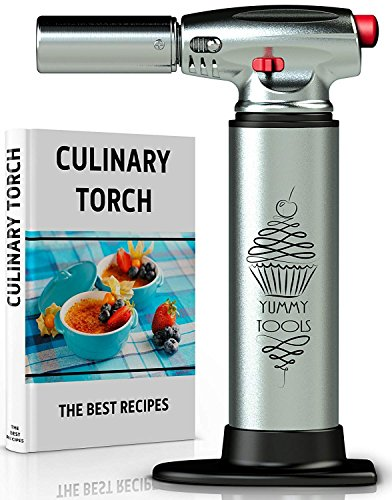 BEST CULINARY TORCH - Chef Torch for Cooking Crème Brulee - Aluminum Hand Butane Kitchen Torch - Blow Torch with Adjustable Flame - Cooking Torch - Perfect for Baking, BBQs, and Crafts + Recipe by Yummy tools