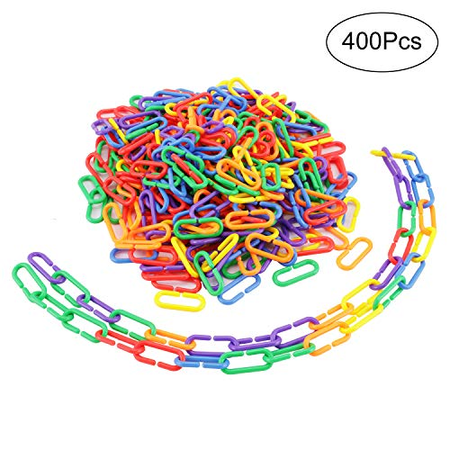 Greatstar 400 Pcs Plastic C-clips Hooks Chain Links C-links Glider Rat Parrot Bird Toy Parts For Sugar Gliders Cage Sets ()
