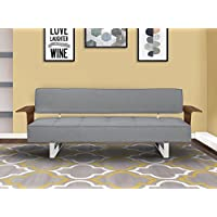 Armen Living LCTASOGRAY Taft Convertible Futon in Grey Fabric and Walnut Wood Finish