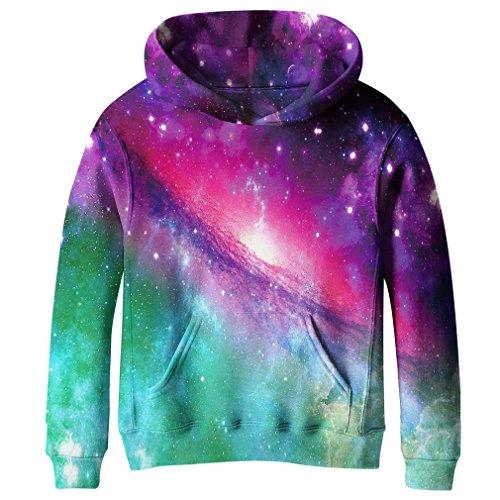 SAYM Big Girls Galaxy Fleece Pockets Sweatshirts Jacket Pullover Hoodies NO6 M (Sweatshirt Fleece Hoodie Girls)