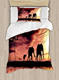 Ambesonne Elephant Duvet Cover Set Twin Size, Elephant Silhouettes by River Africa Animals Adventure Landscape, Decorative 2 Piece Bedding Set with 1 Pillow Sham, Dark Coral Yellow Seal Brown