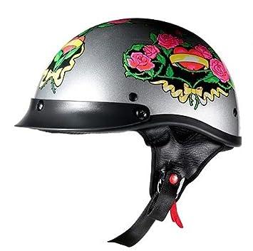 Lunares de la mujer gris casco de motocicleta mitad con diseño de rosas