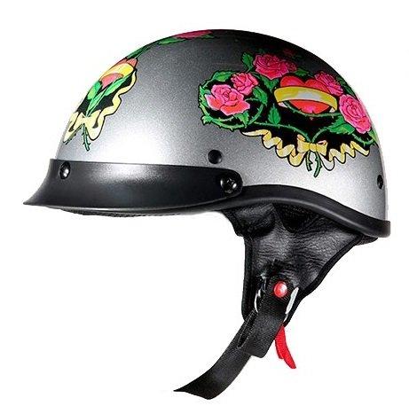 Amazon Com Dot Women S Gray Motorcycle Half Helmet With