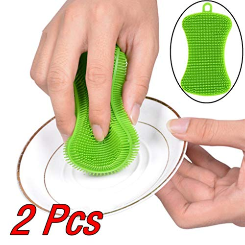 Gotian 2Pcs Silicone Dish Washing Sponge Scrubber Kitchen Cleaning Antibacterial Tool - 11x4.5x0.7cm Green ()