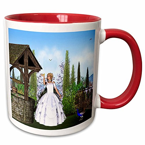 3dRose Simone Gatterwe Designs Fairies Fairytale - The princess wants to turn back their enchanted prince - 15oz Two-Tone Red Mug (mug_200950_10)