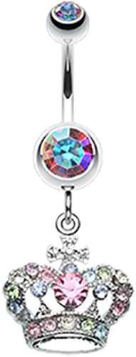 Freedom Fashion Queen Gem 316L Surgical Steel Belly Button Ring Sold by Piece