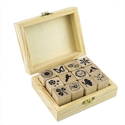 Wood Rubber Stamp, 12Pcs Korea DIY Diary Scrapbook Stamp Set -Nature