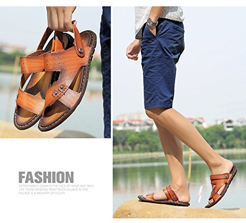 Sandali di sandalo delle fibre di estate degli uomini di estate Scarpe da spiaggia all'aperto Sandali da spiaggia a due posti, Giallo, Regno Unito = 7, EU = 40 2/3