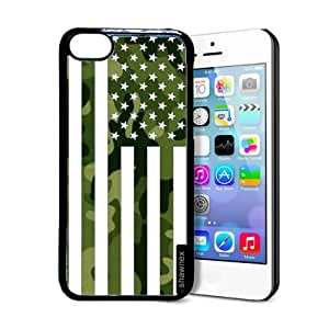 Shawnex Springink Black Green Camo American Flag iPhone 5C Case - Thin Shell Plastic Protective Case iPhone 5C Case