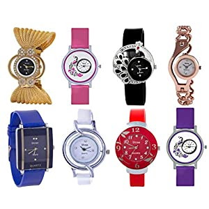 Shree Analog Multi Color Watch for Women and Girls – Combo of 8 Watch-55599904