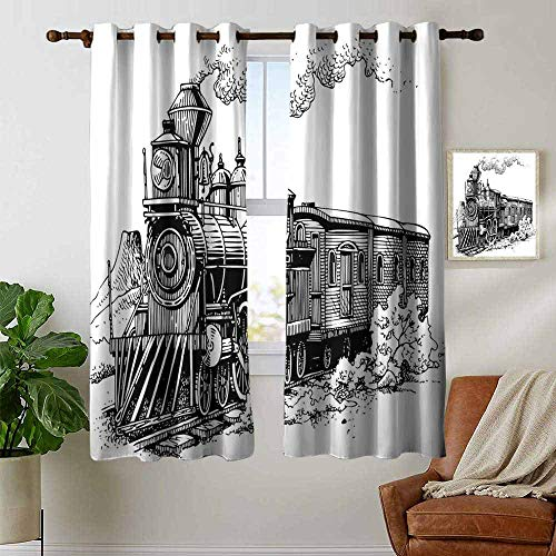 petpany Window Curtains Steam Engine,Rustic Old Train in Country Locomotive Wooden Wagons Rail Road with Smoke,Black and White,Tie Up Window Drapes Living Room 42
