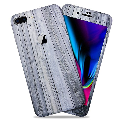 Aged Wood Texture Protective Skin Decal for Apple iPhone 8 Plus Sticker Wrap Cover 2 Pack by GolemGuard ()