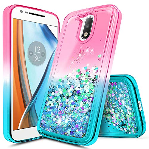 - Moto G4 Case, NageBee Glitter Liquid Quicksand Waterfall Floating Flowing Sparkle Shiny Bling Diamond Shockproof Girls Cute Case for Motorola Moto G 4th Gen -Pink/Aqua