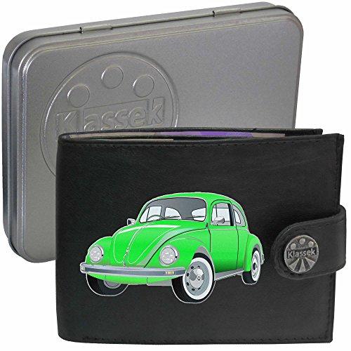VW Käfer Grün Bettle Auto Klassek Herren Geldbörse Portemonnaie Brieftasche aus echtem Leder schwarz Volkswagen Zubehör Geschenk