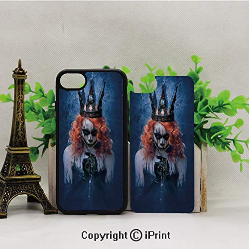Phone Case Compatible with iPhone7 iPhone8,Queen-of-Death-Scary-Body-Art-Halloween-Evil-Face-Bizarre-Make-Up-Zombie,2D Print Black Edge -