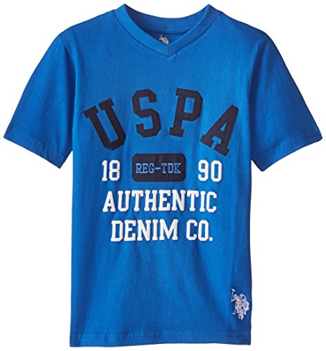 U.S. Polo Assn. Big Boys' Screen Print Applique and Embroidered Logo V-Neck T-Shirt, China Blue, 14/16