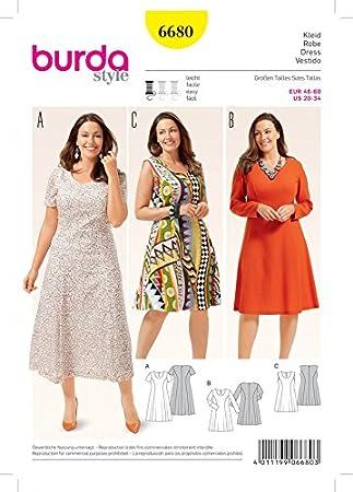 Burda Damen Schnittmuster 6680 Kleider aus mehreren Stoffbahnen ...