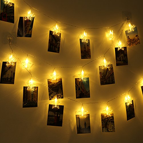 LED Photo Clip String Light - 20 Photo Clips 12 ft USB/Battery Powered Elegant Star LED Picture Lights with 2 Modes(Warm White) (Battery Powered) (Star String Lights For Bedroom)