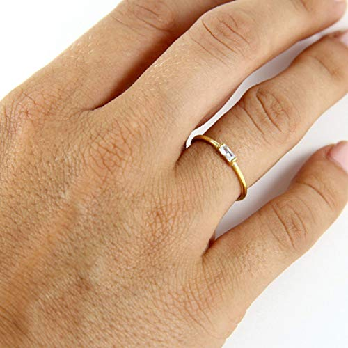 Ring Baguette Silver Sterling Engagement - Baguette Engagement Ring - 925k Sterling Silver Engagement Ring - Rose Gold Baguette Ring - CZ Baguette Ring - Gold Filled Baguette Ring