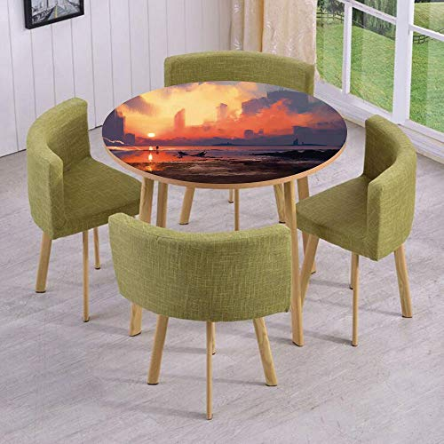 Round Table/Wall/Floor Decal Strikers,Removable,Man on Sandy Beach with City Skyscrapers Skyline Sunset Oil Paint Graphic,for Living Room,Kitchens,Office Decoration