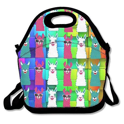 DASENCO Llama Pink Green Cute 100% Polyester Zipper Portable Lunch Picnic Handbag Bag Waterproof Insulated Food Container School Office Travel Outdoor Work Lunch Bag Tote