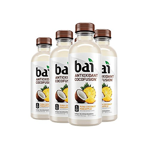 Bai Cocofusions Puna Coconut Pineapple, Antioxidant Infused, Coconut Pineapple Flavored Water Drink, 18 Fluid Ounce Bottles, 6 count