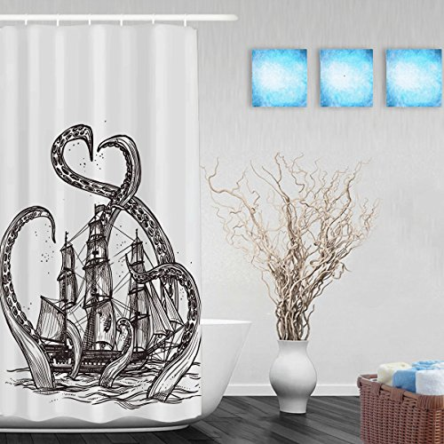 Vintage Hand Drawn Shower Curtain Sketch Mollusc-Octopus And Pirate Ship Bathroom Shower Curtains Waterproof Mildewproof Fade Resistant Polyester Fabric 36